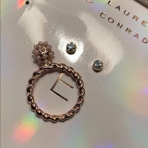 NEW Lauren Conrad gold pink champagne ring earring